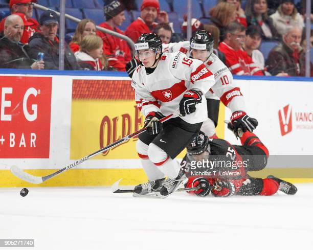 Axel Simic of Switzerland skates the puck against Canada during the second period of play in the Quarterfinal IIHF World Junior Championship game at...