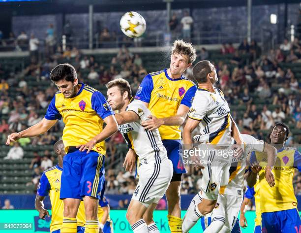 Axel Sjoberg of Colorado Rapids clears the ball during the Los Angeles Galaxy's MLS match against Colorado Rapids at the StubHub Center on September...