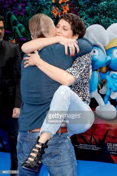 Axel Stein and Jasmin Gerat attend 'Die Schluempfe Das verlorene Dorf' Berlin Premiere at Sony Centre on April 2 2017 in Berlin Germany