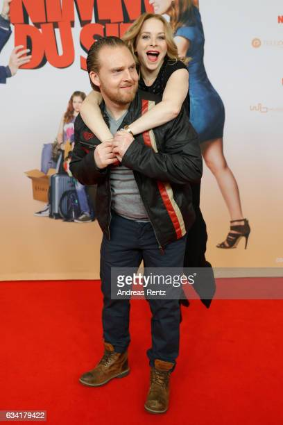 Axel Stein and Jasmin Schwiers attend 'Schatz Nimm Du sie' German movie premiere at Cineplex Cologne on February 7 2017 in Cologne Germany