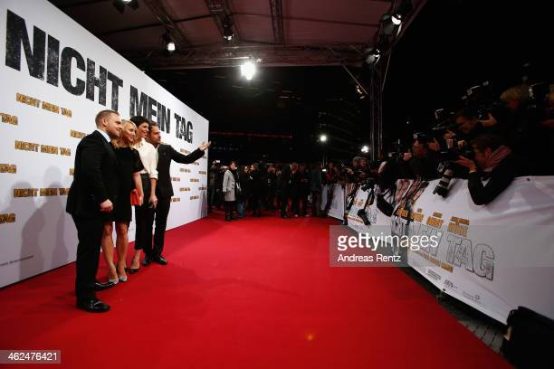 Axel Stein, Anna Maria Muehe, Jasmin Gerat and Moritz Bleibtreu attend the premiere of the film 'Nicht mein Tag' at CineStar on January 13, 2014 in...