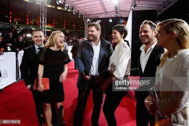 Axel Stein, Anna Maria Muehe, Peter Thorwarth, Jasim Gerat, Moritz Bleibtreu and Nele Kiper attend the premiere of the film 'Nicht mein Tag' at...