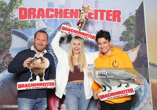 Axel Stein, Dagi Bee and Julien Bam attend 'DRACHENREITER' photocall on September 14, 2020 in Cologne, Germany.
