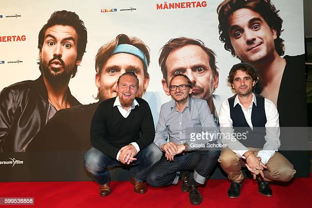 Axel Stein Milan Peschel and Oliver Wnuk during the premiere for the film 'Maennertag' at Mathaeser Filmpalast on September 5 2016 in Munich Germany
