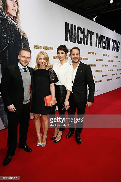 Axel Stein,Anna Maria Muehe, Jasmin Gerat and Moritz Bleibtreu attend the premiere of the film 'Nicht mein Tag' at CineStar on January 13, 2014 in...