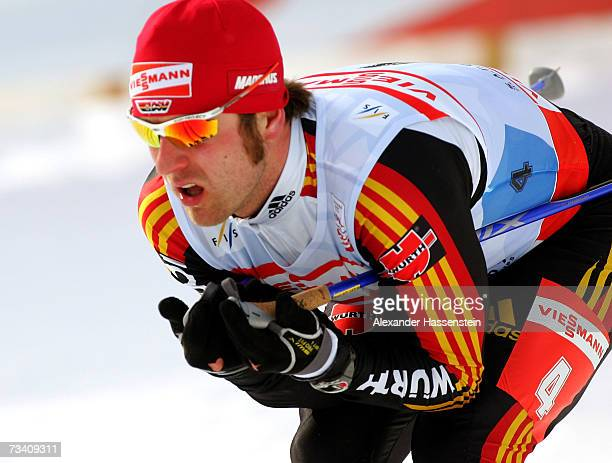 Axel Teichmann of Germany competes in the Men Cross Country Pursuit 15km Classic and Free Event during the FIS Nordic World Ski Championships 2007 on...
