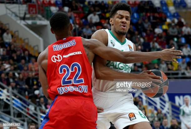 Axel Toupane #6 of Zalgiris Kaunas competes with Cory Higgins #22 of CSKA Moscow in action during the 2017/2018 Turkish Airlines EuroLeague Regular...