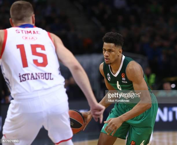Axel Toupane #6 of Zalgiris Kaunas in action during the 2017/2018 Turkish Airlines EuroLeague Regular Season Round 9 game between Zalgiris Kaunas and...