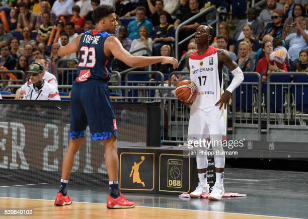 Axel Toupane of Team Frankreich and Dennis Schroeder of Team Germany during the game between Germany and France on august 27 2017 in Berlin Germany