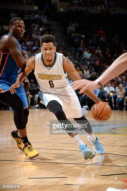 Axel Toupane of the Denver Nuggets drives to the basket during the game against the Oklahoma City Thunder on April 5 2016 at the Pepsi Center in...