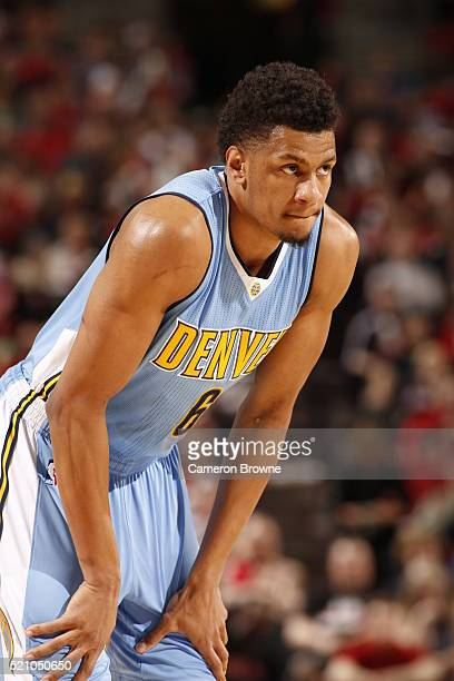 Axel Toupane of the Denver Nuggets during the game against the Portland Trail Blazers on April 13 2016 at Moda Center in Portland Oregonian NOTE TO...