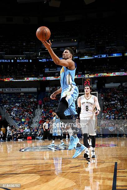 Axel Toupane of the Denver Nuggets goes for the layup during the game against the New Orleans Pelicans on March 31 2016 at the Smoothie King Center...