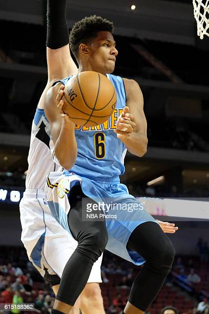 Axel Toupane of the Denver Nuggets handles the ball against the Minnesota Timberwolves during a preseason game on October 12 2016 at Pinnacle Bank...
