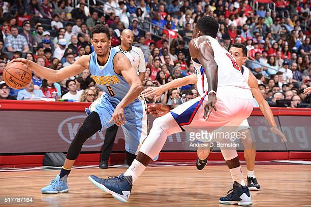 Axel Toupane of the Denver Nuggets handles the ball against the Los Angeles Clippers on March 27 2016 at STAPLES Center in Los Angeles California...