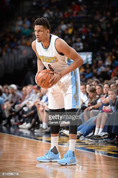 Axel Toupane of the Denver Nuggets handles the ball against the New York Knicks on March 8 2016 at the Pepsi Center in Denver Colorado NOTE TO USER...