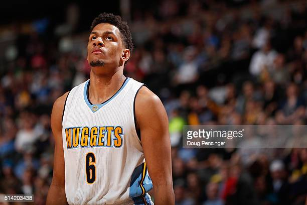 Axel Toupane of the Denver Nuggets looks on during a pause in the action against the Dallas Mavericks at Pepsi Center on March 6 2016 in Denver...