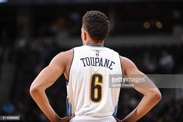 Axel Toupane of the Denver Nuggets looks on during the game against the New York Knicks on March 8 2016 at the Pepsi Center in Denver Colorado NOTE...