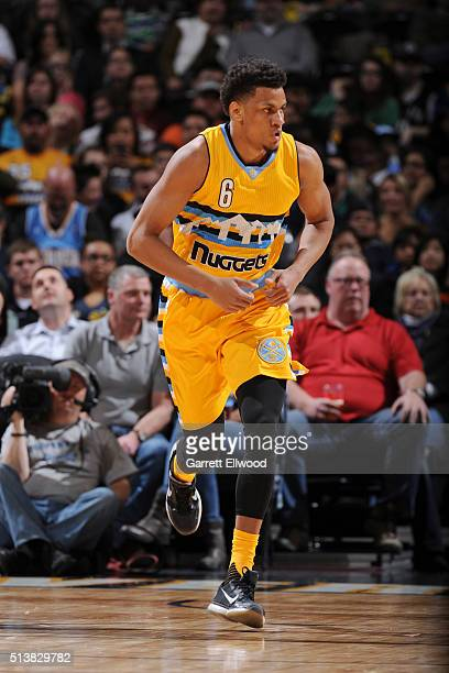 Axel Toupane of the Denver Nuggets runs the court during the game against the Brooklyn Nets on March 4 2016 at the Pepsi Center in Denver Colorado...
