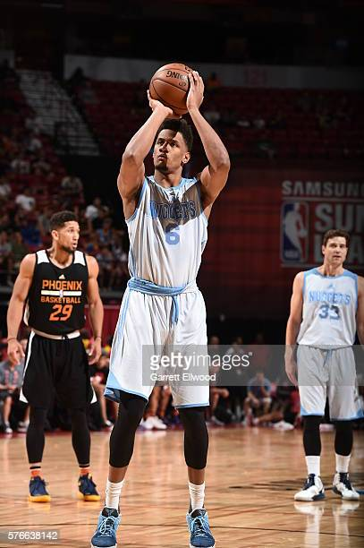 Axel Toupane of the Denver Nuggets shoots against the Phoenix Suns during the 2016 NBA Las Vegas Summer League on July 16 2016 at Thomas Mack Center...