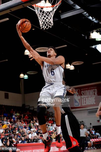 Axel Toupane of the New Orleans Pelicans goes for a lay up during the game against the Toronto Raptors during the 2017 Las Vegas Summer League on...