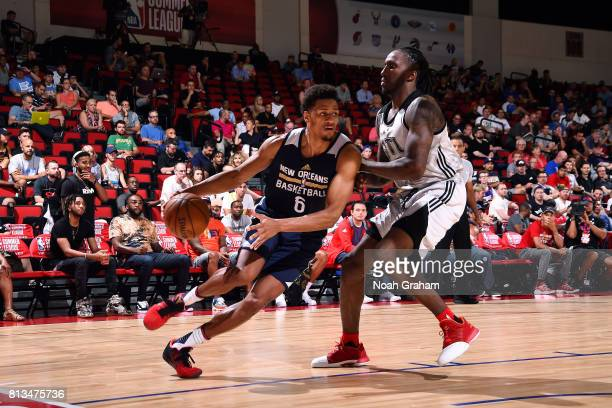 Axel Toupane of the New Orleans Pelicans handles the ball during the game against Taurean Prince of the Atlanta Hawks during the 2017 Las Vegas...