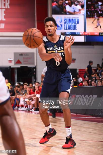 Axel Toupane of the New Orleans Pelicans passes the ball during the 2017 Las Vegas Summer League game against the Atlanta Hawks on July 12 2017 at...