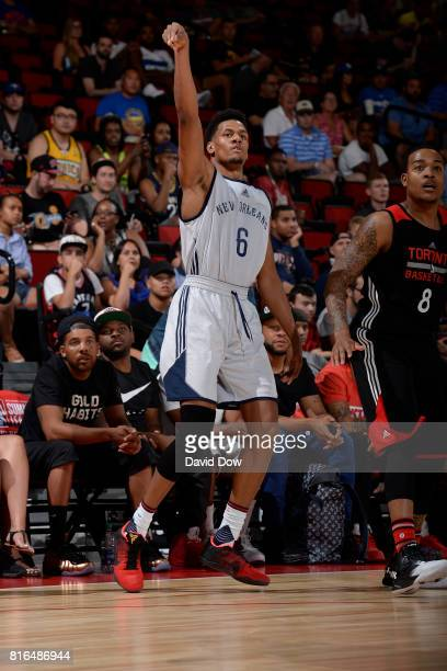 Axel Toupane of the New Orleans Pelicans shoots against the Toronto Raptors during the 2017 Las Vegas Summer League on July 7 2017 at the Cox...
