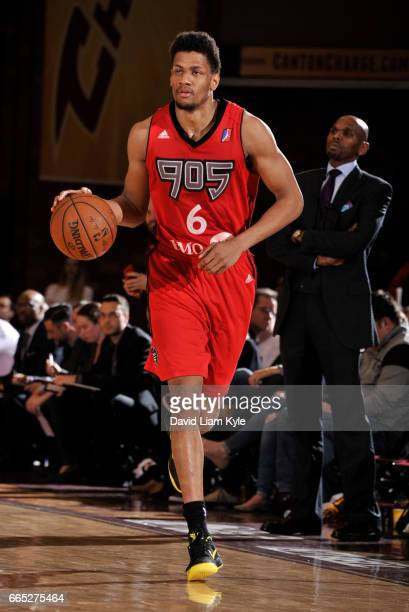 Axel Toupane of the Raptors 905 brings the ball up the court against the Canton Charge at the Canton Memorial Civic Center on April 5 2017 in Canton...