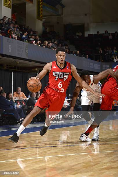 Axel Toupane of the Raptors 905 drives the basketball against the Westchester Knicks on December 23 2016 at the Westchester County Center in White...