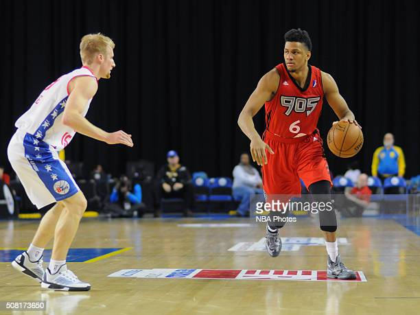 Axel Toupane of the Raptors 905 handles the ball against the Delaware 87ers on January 29 2016 at the Bob Carpenter Center in Newark Delaware NOTE TO...