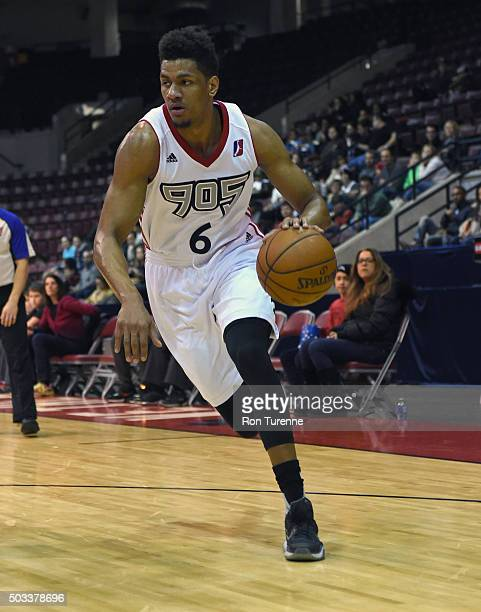 Axel Toupane of the Raptors 905 handles the ball against the Sioux Falls Skyforce during the game on December 31 2015 at the Hershey Centre in...