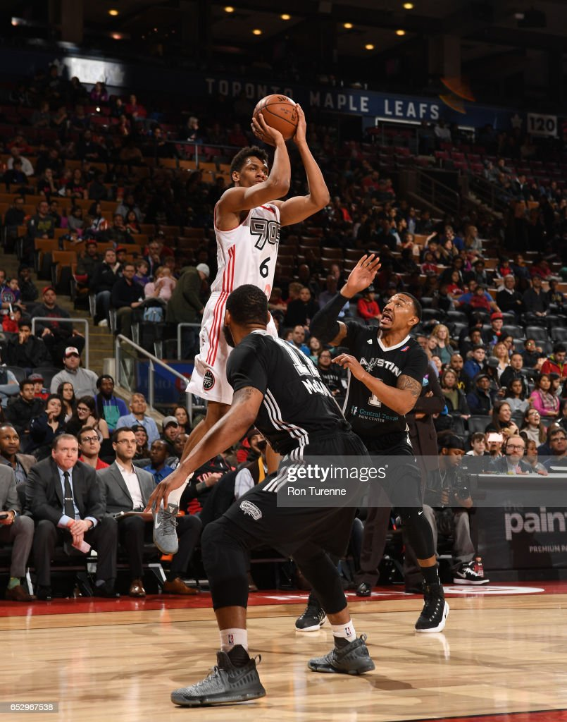 Axel Toupane #6 of the Raptors 905 with a jumper during the game against the Austin Spurs at the Air Canada Centre on March 13, 2017 in Toronto, Ontario, Canada.