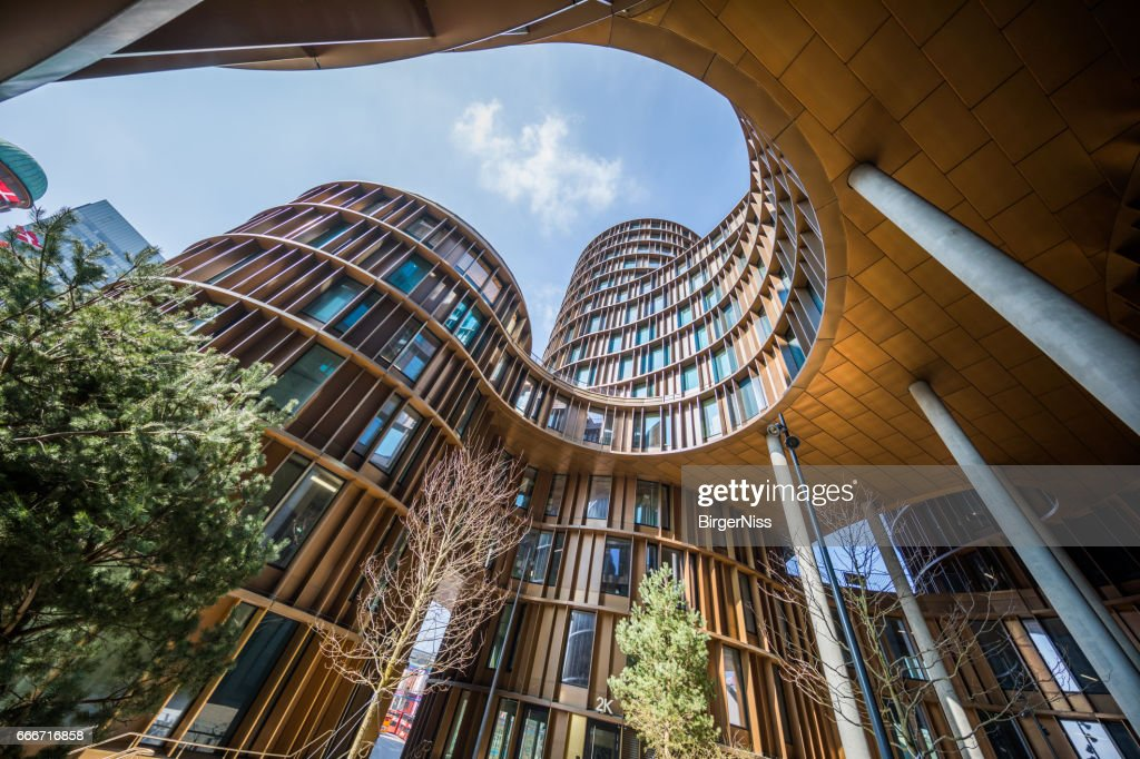 Axel Towers, modern office buildings in glass and copper, Copenhagen, Denmark : Stock Photo
