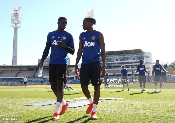 Axel Tuanzebe and Aaron WanBissaka of Manchester United in action during a first team training session as part of their preseason tour of Australia...