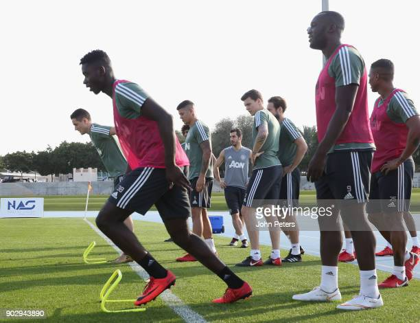 Axel Tuanzebe and Romelu Lukaku of Manchester United in action during a first team training session at Nad Sheba Sports Complex on January 9 2018 in...
