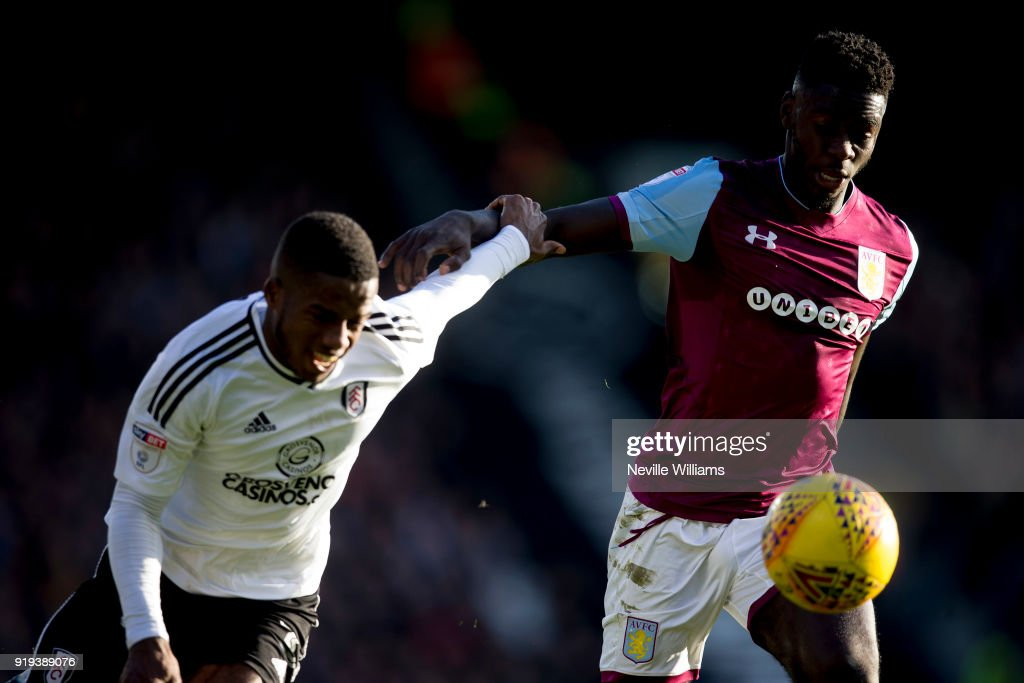 Axel Tuanzebe of Aston Villa during the Sky Bet Championship match between Fulham and Aston Villa at Craven Cottage on February 17, 2018 in London, England.