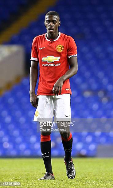 Axel Tuanzebe of Man United during the FA Youth Cup Fifth Round match between Tottenham Hotspur and Manchester United at White Hart Lane on February...