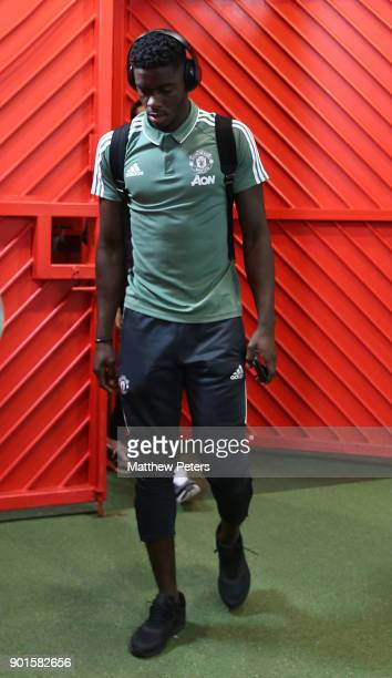 Axel Tuanzebe of Manchester United arrives ahead of the Emirates FA Cup Third Round match between Manchester United and Derby County at Old Trafford...