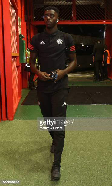 Axel Tuanzebe of Manchester United arrives ahead of the UEFA Champions League group A match between Manchester United and SL Benfica at Old Trafford...