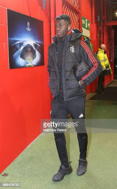 Axel Tuanzebe of Manchester United arrives ahead of the UEFA Champions League group A match between Manchester United and CSKA Moskva at Old Trafford...