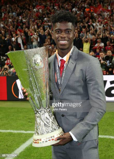 Axel Tuanzebe of Manchester United celebrates with the Europa League trophy after the UEFA Europa League Final match between Manchester United and...