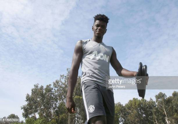 Axel Tuanzebe of Manchester United in action during a first team training session as part of their preseason tour of the USA at UCLA on July 13 2017...