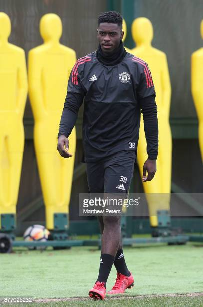 Axel Tuanzebe of Manchester United in action during a first team training session at Aon Training Complex on November 21 2017 in Manchester England