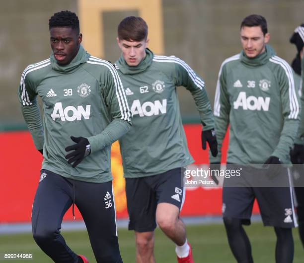 Axel Tuanzebe of Manchester United in action during a first team training session at Aon Training Complex on December 28 2017 in Manchester England