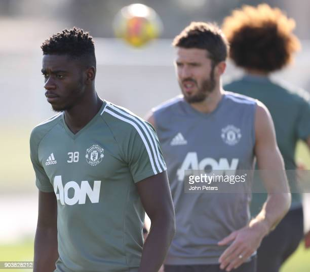 Axel Tuanzebe of Manchester United in action during a first team training session at Nad Al Sheba Sports Complex on January 11 2018 in Dubai United...