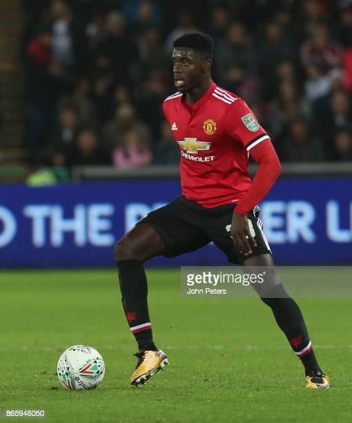 Axel Tuanzebe of Manchester United in action during the Carabao Cup Fourth Round match between Swansea City and Manchester United at Liberty Stadium...