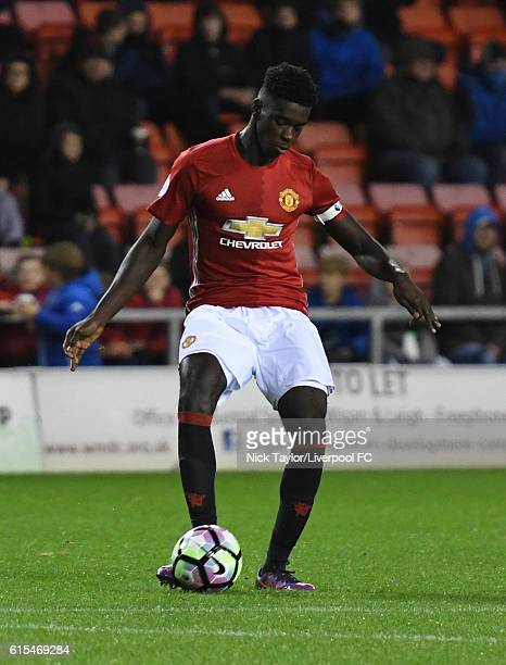 Axel Tuanzebe of Manchester United in action during the Premier League 2 match between Manchester United and Liverpool at Leigh Sports Village on...