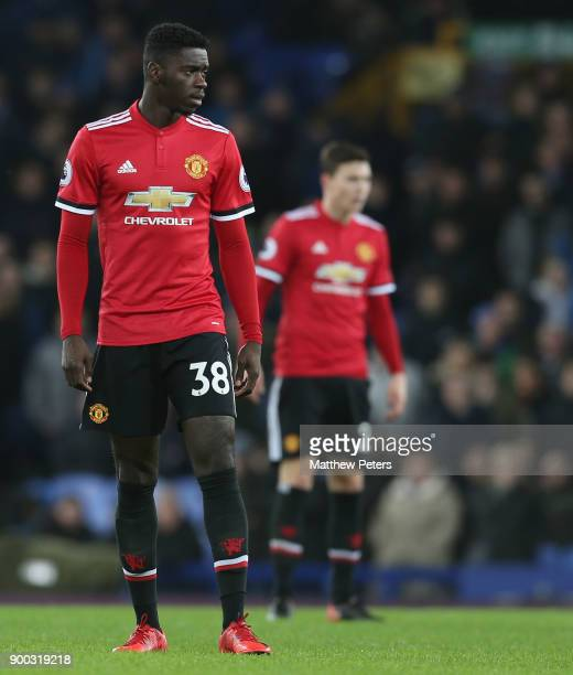 Axel Tuanzebe of Manchester United in action during the Premier League match between Everton and Manchester United at Goodison Park on January 1 2018...