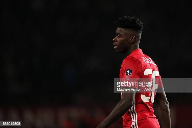Axel Tuanzebe of Manchester United looks on during the FA Cup fourth round match between Manchester United and Wigan Athletic at Old Trafford on...