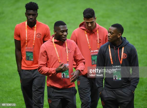 Axel Tuanzebe of Manchester United Timothy FosuMensah of Manchester United Joel Castro Pereira of Manchester United and Anthony Martial of Manchester...